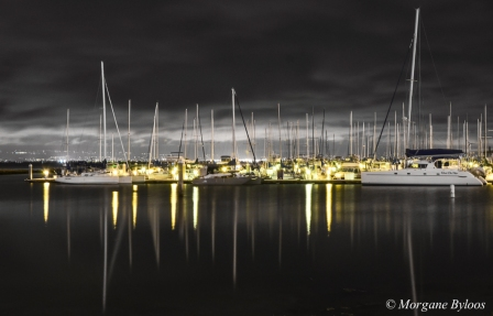 Oyster Point Marina by night
