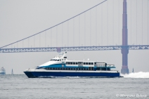 Boat in the San Francisco Bay - Golden Gate Bridge in the background