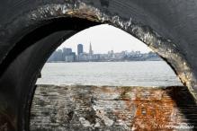 San Francisco through a tire on Treasure Island