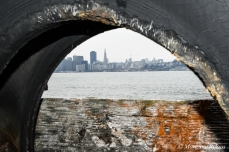 San Francisco through a tire on Treasure Island