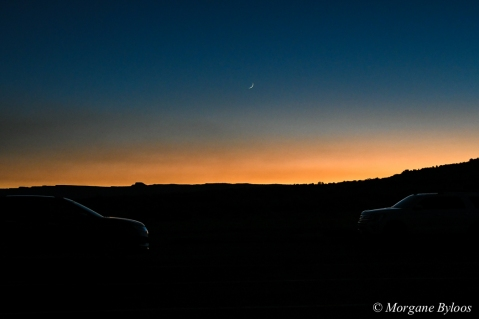 Horseshoe Bend parking lot sunset